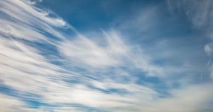 Timelapse do fundo do céu azul com o cirro minúsculo do stratus listrou nuvens Dia de esclarecimento e bom tempo ventoso vídeos de arquivo