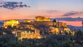 Timelapse do Partenon, acrópole de Atenas, Grécia no nascer do sol vídeos de arquivo