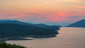 Timelapse do por do sol em Poros, Grécia filme