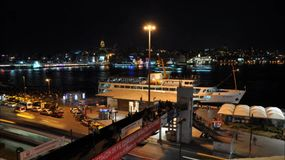 Street Traffic in istanbul. Timelapse Docking of ships in Istanbul stock video footage