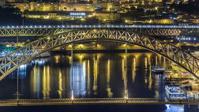 Timelapse The Dom Luis I Bridge is a metal arch. Night Timelapse The Dom Luis I Bridge is a metal arch bridge that spans the Douro River between the cities of stock video
