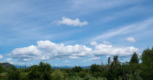 Timelapse du dépassement opacifie avec le ciel bleu au-dessus de l'arbre et de la montagne clips vidéos