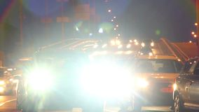 Timelapse of dusk night cars drive, long light traces, road. Stock footage stock video footage