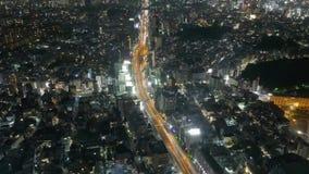 Timelapse dussintals tusentals ljus i nattstaden och huvudvägen lager videofilmer