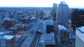 Timelapse dzień noc Calgary, Alberta linia horyzontu 4K zdjęcie wideo