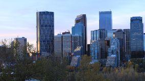 Timelapse dzień noc Calgary, Kanada linia horyzontu 4K zdjęcie wideo