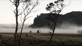 Timelapse of early morning mist. Timelapse of mist shot early in the morning against a mountain backdrop stock video footage