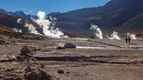 Timelapse of El Tatio Geysers Field with tourists in Chile. Time-lapse of tourists visiting el Tatio Geysers Field, Atacama stock video