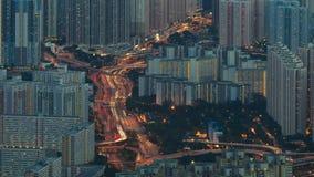 Timelapse för cityscape för trafikljusstrimma arkivfilmer