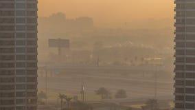 Timelapse för Dubai marinaaeral på soluppgång arkivfilmer