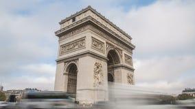 timelapse för 4K UHD av Arc de Triomphe i Paris, Frankrike lager videofilmer