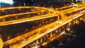 Timelapse för natt för trafik för Bangkok huvudväggata stock video