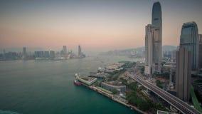 Timelapse för solnedgång för Hong Kong panoramasikt arkivfilmer