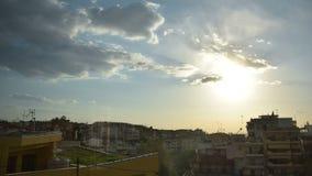 timelapse för solnedgång 4K i Thessaloniki arkivfilmer