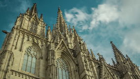 Timelapse of facade of The Cathedral. Barcelona, Spain. stock video footage