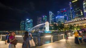 Timelapse famoso de la noche de Singapur Merlion almacen de video