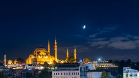Timelapse of famous Suleymaniye mosque in Istanbul at night stock video footage