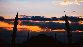 Timelapse of famous Sultanahmet or Blue Mosque in Istanbul cityscape at sunset, Turkey. Timelapse view of famous Sultanahmet or Blue Mosque in Istanbul cityscape stock footage