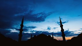 Timelapse of famous Sultanahmet or Blue Mosque in Istanbul cityscape at sunset, Turkey. Timelapse view of famous Sultanahmet or Blue Mosque in Istanbul cityscape stock video footage