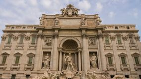 Timelapse of the famous Trevi Fountain building. It is the largest Baroque fountain in Rome and one of the most famous fountains in the world. Rome, Italy stock video footage