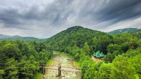 Timelapse fast clouds over the stone bridge. Ukraine stock footage