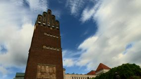 Timelapse - Fast moving clouds over the Hochzeitsturm stock video footage