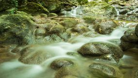 Timelapse fast stream of cold water of mountain river flowing between wet natural stones stock video