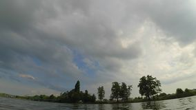 Timelapse Fast video timelapse landscape pier river sky clouds trees stock video footage
