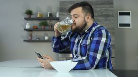 Timelapse fat bearded man drinks beer, eats chips and looks news feed in smartphone. Thick guy surfs in internet and. Thick guy surfs, browses news feed and stock video