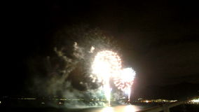 Timelapse of fireworks over the bay. stock video