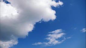 Timelapse Flutuador branco das nuvens através de um céu azul vídeos de arquivo