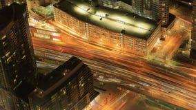 Timelapse flyg- sikt av Toronto, Ontario på natten 4K lager videofilmer