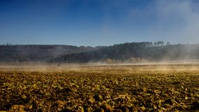Timelapse fog over a field 3 stock footage