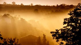 Timelapse fog over in a valley stock footage