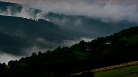 Timelapse foggy morning in mountains stock video