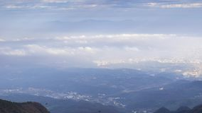 Timelapse footage of China Mountain Lu sea of clouds landscape in late autumn stock footage