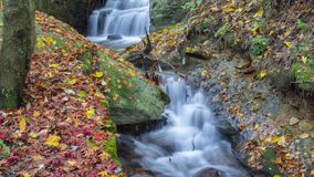 Timelapse footage of China Mountain Lu waterfall and stream natural landscape in late autumn stock video footage
