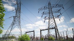 Timelapse footage of electricity pylons