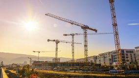 Timelapse footage of a large construction site stock footage