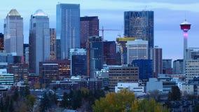 Timelapse från natt till dagen Calgary, Alberta centrum 4K lager videofilmer