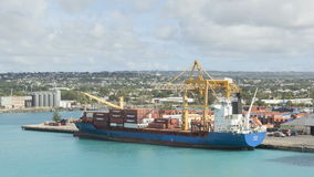 Timelapse Freighter loaded in Barbados stock video