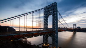 Timelapse with George Washington Bridge traffic stock video footage