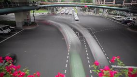 Timelapse godzina szczytu ruch drogowy w rozdrożu, Szanghaj, Chiny zbiory