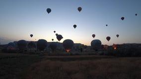 Timelapse gorące powietrze szybko się zwiększać wydźwignięcie w Cappadocia, Turcja zbiory