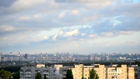 Timelapse of gorgeous cumulus clouds moving over Kiev. Time lapse of scenic cloudscape with gorgeous cumulus seething clouds over beautiful urban cityscape of stock video