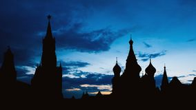 Timelapse of gorgeous sunset on Moscow historical center Red Square and Kremlin tower silhouette stock video footage