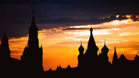 Timelapse of gorgeous sunset on Moscow historical center Red Square and Kremlin tower silhouette stock video