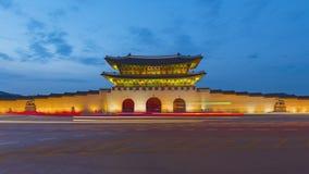 Time lapse Night view of Gwanghwamun gate of Gyeongbokgung palace and Seoul traffic in Seoul, South Korea.