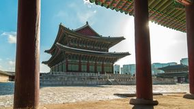 Timelapse at Gyeongbok Palace the famous place in Seoul, Korea