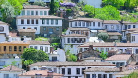 Timelapse of Historical White Houses, Sirince Village, Turkey, zoom in stock video footage